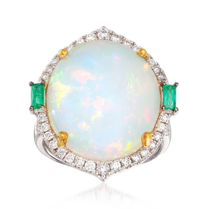 Opal and .78 ct. t.w. Multi-Stone Ring in 18kt Two-Tone Gold. Size 7, , default
