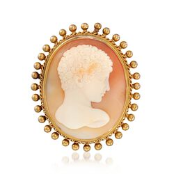C. 1950 Vintage 34x27mm Shell Cameo Pin in 18kt Yellow Gold, , default