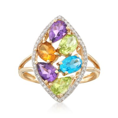 2.20 ct. t.w. Multi-Stone and .14 ct. t.w. Diamond Ring in 14kt Yellow Gold, , default
