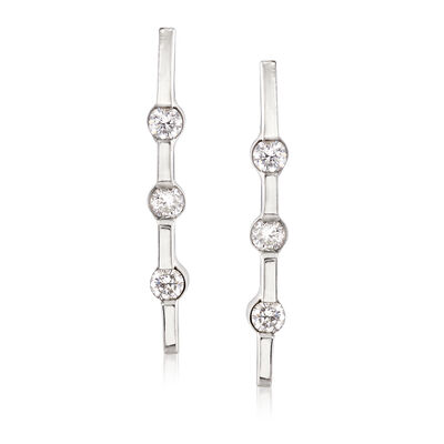 C. 1990 Vintage .25 ct. t.w. Diamond Bar Earrings in 14kt White Gold, , default