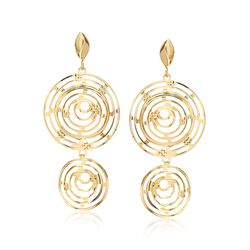 Italian 18kt Yellow Gold Double Circle Drop Earrings, , default