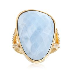 Blue Opal and .22 ct. t.w. Diamond Ring in 18kt Yellow Gold Over Sterling Silver, , default