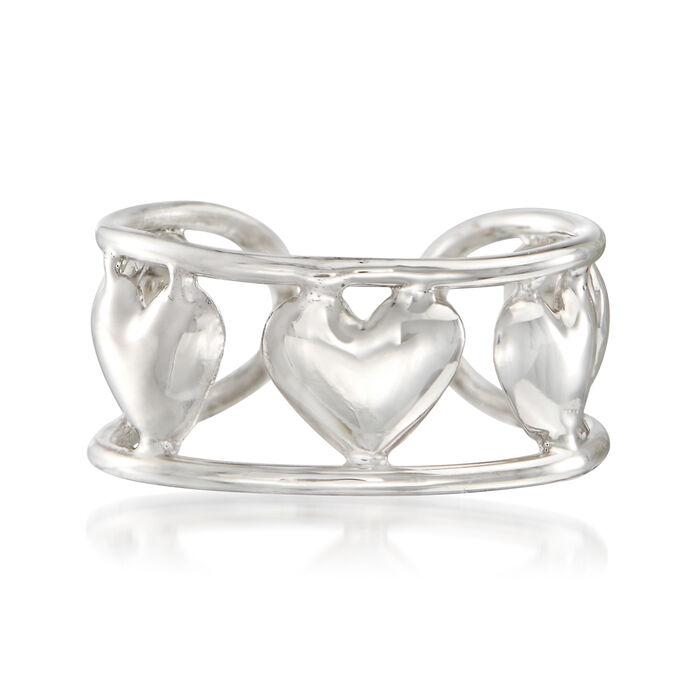 14kt White Gold Multi-Heart Single Ear Cuff