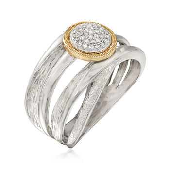 .10 ct. t.w. Diamond Highway Ring in Sterling Silver with 14kt Yellow Gold, , default