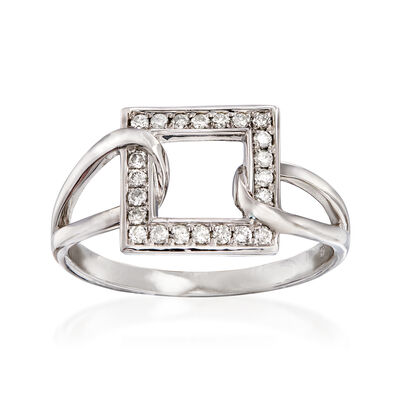 C. 1990 Vintage .25 ct. t.w. Diamond Open-Space Square Ring in 14kt White Gold, , default