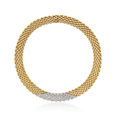 C. 1980 Vintage 4.50 ct. t.w. Diamond Mesh Necklace in 18kt Two-Tone Gold, , default