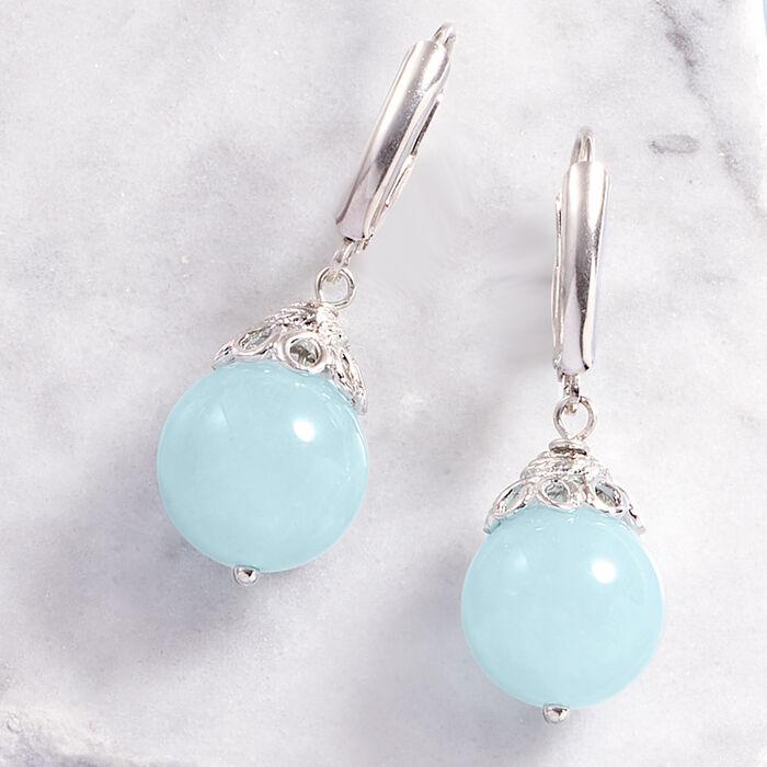 20.00 ct. t.w. Milky Aquamarine Drop Earrings in Sterling Silver