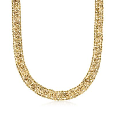 14kt Yellow Gold Rope Chain and Rosette Necklace, , default