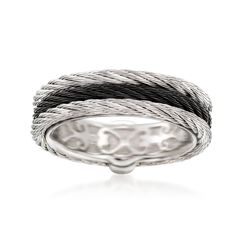 "ALOR ""Noir"" Black and Gray Stainless Steel Cable Ring, , default"