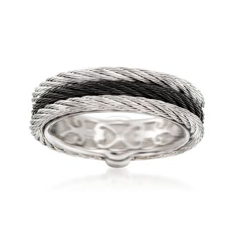 "ALOR ""Noir"" Black and Gray Stainless Steel Cable Ring. Size 7, , default"