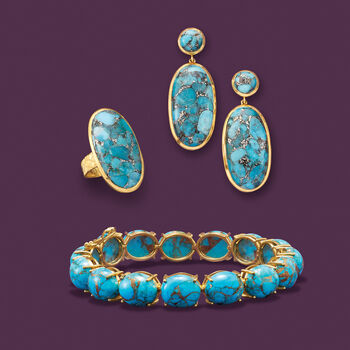 Mohave Turquoise Bracelet in 18kt Gold Over Sterling