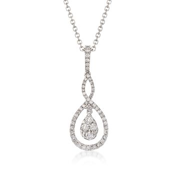 "Gregg Ruth .49 ct. t.w. Diamond Necklace in 18kt White Gold. 18"", , default"