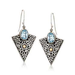 2.20 ct. t.w. Blue Topaz Balinese Arrowhead Earrings in Sterling Silver and 18kt Yellow Gold, , default
