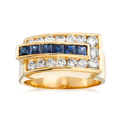 C. 1980 Vintage 1.20 ct. t.w. Sapphire and 1.00 ct. t.w. Diamond Ring in 14kt Yellow Gold, , default