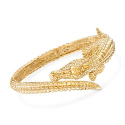 "Italian 18kt Yellow Gold Alligator Bangle Bracelet. 7"", , default"