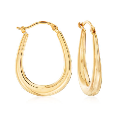 14kt Yellow Gold U-Shaped Puffed Hoop Earrings