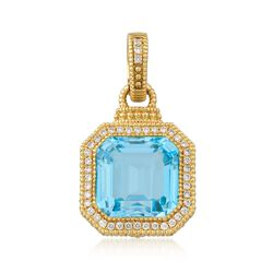Judith Ripka 11.50 Carat Blue Topaz and .26 ct. t.w. Diamond Pendant in 18kt Yellow Gold , , default