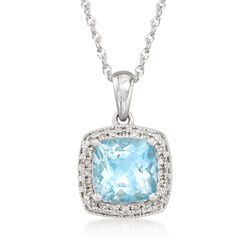 "1.20 Carat Aquamarine Necklace With Diamonds in 14kt White Gold. 18"", , default"