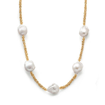 14-16mm Cultured Baroque Pearl and 14kt Yellow Gold Byzantine Station Necklace