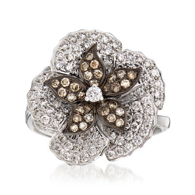 C. 1990 Vintage Piero Milano 1.18 ct. t.w. White and Cognac Diamond Flower Ring in 18kt White Gold