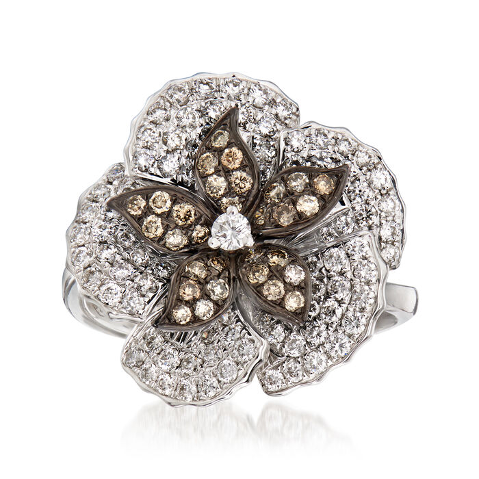 C. 1990 Vintage Piero Milano 1.18 ct. t.w. White and Cognac Diamond Flower Ring in 18kt White Gold. Size 7, , default