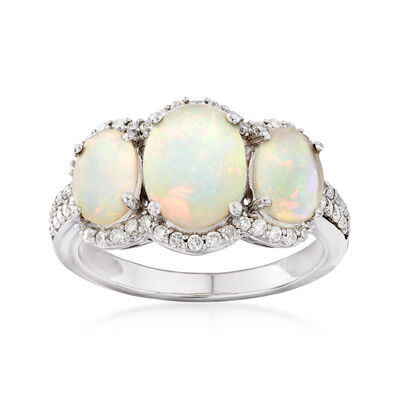 Ethiopian Opal and .33 ct. t.w. Diamond Ring in 14kt White Gold, , default