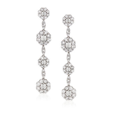 3.67 ct. t.w. Diamond Drop Earrings in 18kt White Gold, , default