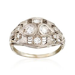 C. 1950 Vintage .33 ct. t.w. Diamond Ring in Platinum and 18kt White Gold. Size 4.5, , default