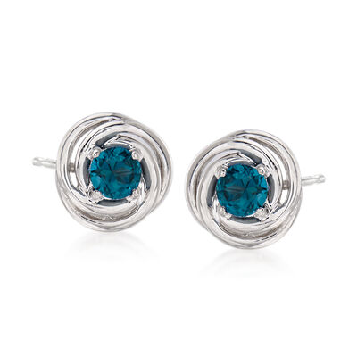 1.00 ct. t.w. London Blue Topaz Love Knot Earrings in Sterling Silver, , default
