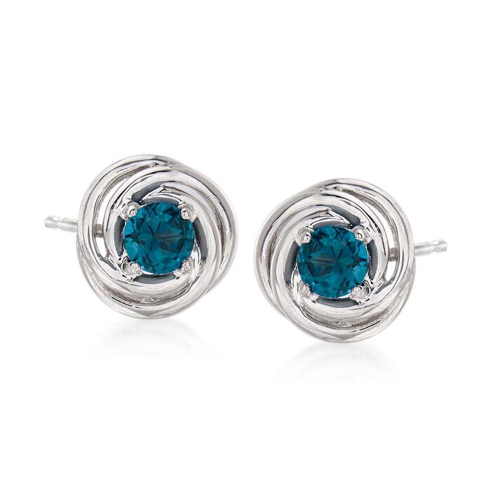 1.00 ct. t.w. London Blue Topaz Love Knot Earrings in Sterling Silver, , default