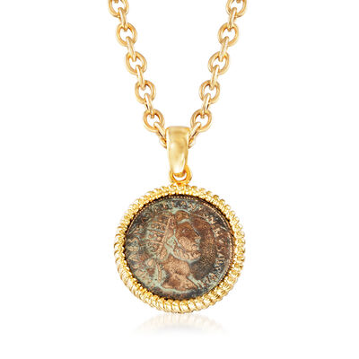 Italian Bronze Coin Pendant Necklace in 18kt Gold Over Sterling Silver, , default