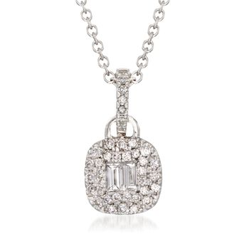 "Gregg Ruth .47 ct. t.w. Round and Baguette Diamond Necklace in 18kt White Gold. 18"", , default"