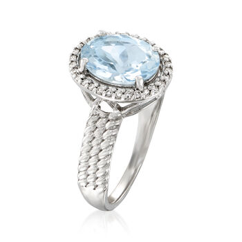 2.00 Carat Aquamarine and .12 ct. t.w. Diamond Halo Ring in 14kt White Gold, , default
