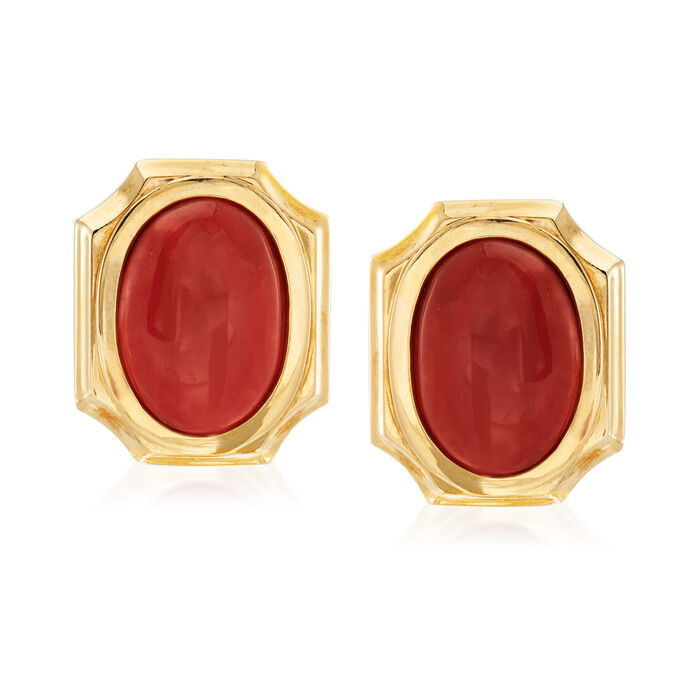 C. 1970 Vintage Red Coral Earrings in 18kt Yellow Gold, , default