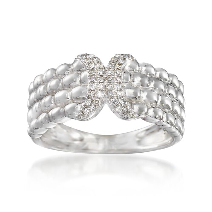 .13 ct. t.w. Diamond Quilted X Ring in Sterling Silver, , default