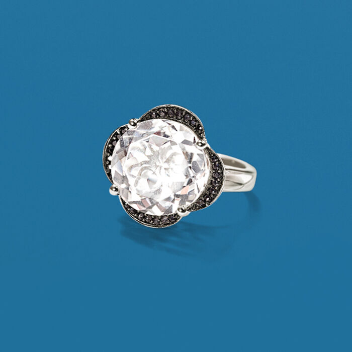 Rock Crystal and Black Spinel Flower Ring in Sterling Silver