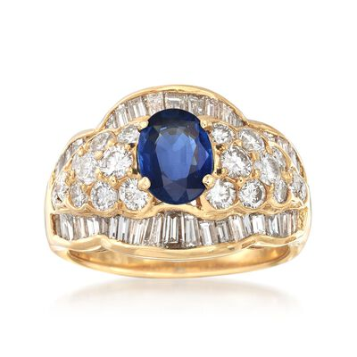 C. 1990 Vintage 1.10 Carat Sapphire and 2.40 ct. t.w. Diamond Cluster Ring in 18kt Yellow Gold, , default