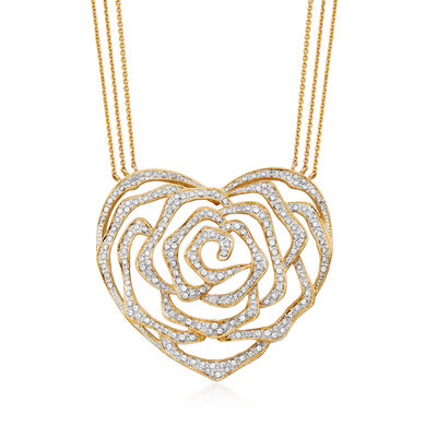 1.05 ct. t.w. Diamond Cut-Out Heart and Floral Necklace in 14kt Yellow Gold, , default