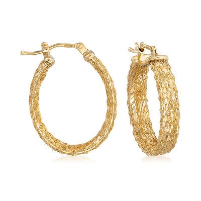 Italian Mesh Oval Hoop Earrings in 14kt Yellow Gold, , default