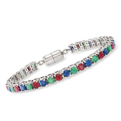 13.20 ct. t.w. Multi-Gem Tennis Bracelet in Sterling Silver