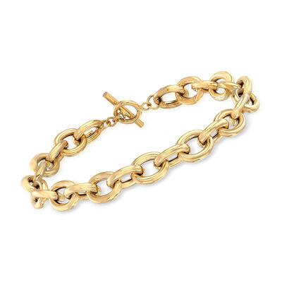 Italian 14kt Yellow Gold Link Toggle Bracelet
