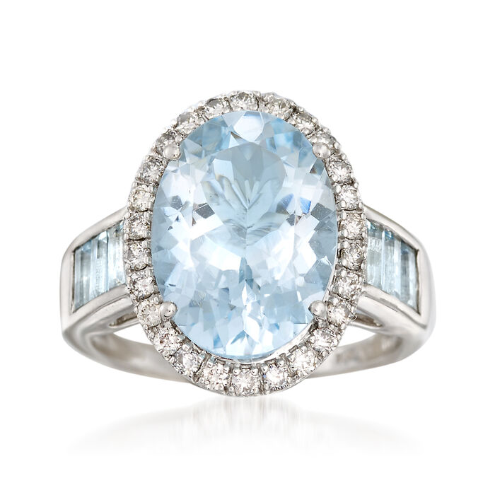 4.80 Carat Aquamarine and .38 ct. t.w. Diamond Ring in 14kt White Gold, , default