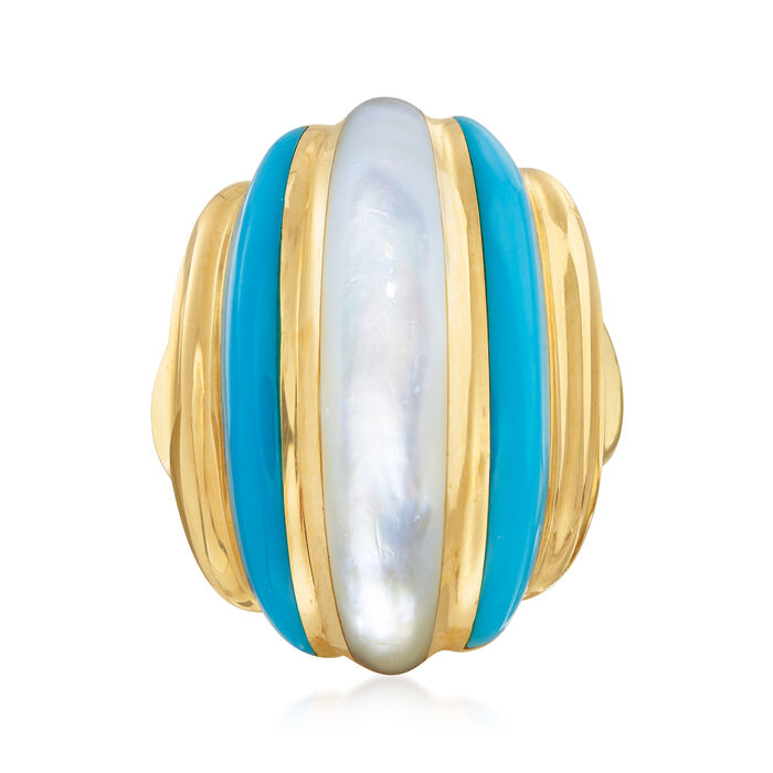 C. 1980 Vintage Mother-Of-Pearl and Turquoise Ring in 14kt Yellow Gold