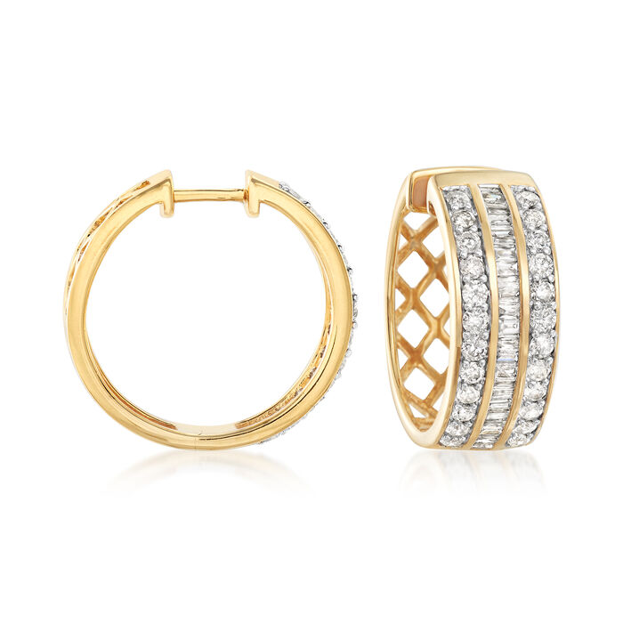 2.00 ct. t.w. Diamond Baguette and Round Diamond Hoop Earrings in 18kt Gold Over Sterling Silver. 3/4""