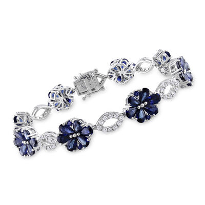 12.50 ct. t.w. Sapphire and 1.25 ct. t.w. Diamond Floral Bracelet in 14kt White Gold