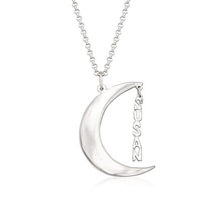 Sterling Silver Personalized Crescent Moon Necklace, , default