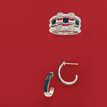 .19 ct. t.w. Blue and White Diamond Jewelry Set: Three Rings in Sterling Silver