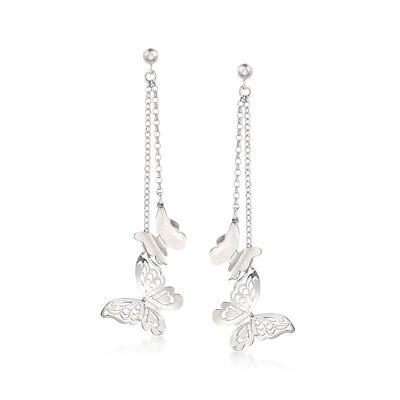 Italian Sterling Silver Double Chain Butterfly Drop Earrings, , default