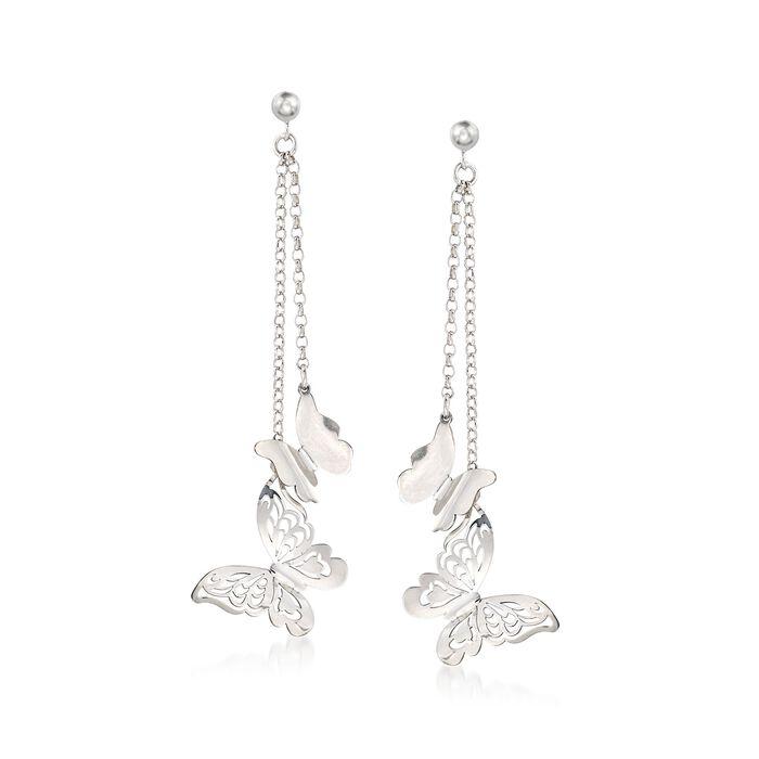 Italian Sterling Silver Double Chain Butterfly Drop Earrings , , default
