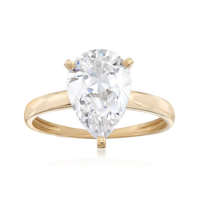 3.00 Carat Pear-Shaped CZ Solitaire Ring in 14kt Yellow Gold